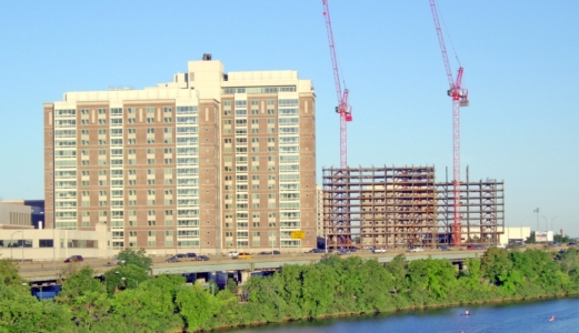steel erection with tower cranes at BU Student Village