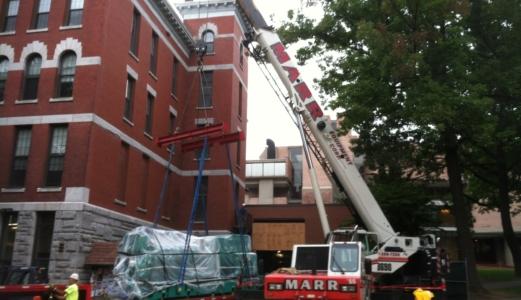 crane rigging at clark university